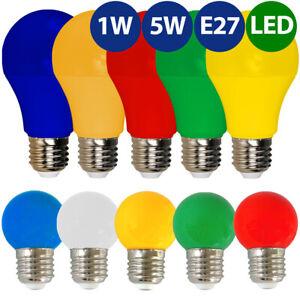 E27 LED Lampe Birne Leuchtmittel farbig bunt 1W 5W Deko-Lampe rot blau grün gelb