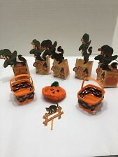 Vtg Halloween Treats HallmarkUsa 3-D Gold Out Treat Boxes Cat Mouse Candy Corn