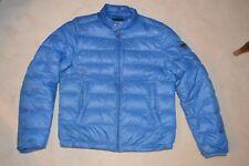 Prada Luz Azul Zip acolchado abrigo chaqueta de bombardero hacia abajo para hombre 48 Pequeño S