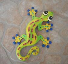 "8"" Metal Sculptured Yellow Gecko Lizard Wall Hanging Tropical Garden Art Decor"