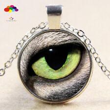 Vintage Cabochon Tibetan Silver Glass leopard eye Chain Pendant Necklace zqd77