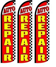 Auto Repair Windless Standard Size  Swooper Flag Sign Banner Pk of 3