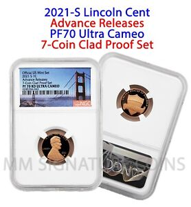 2021 S NGC PF70 Ultra Cameo Advance Releases Lincoln Cent from 7-Coin Clad Set