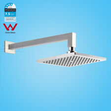 WELS 8'' Square Rainfall Shower Head 16'' Solid Brass Wall Arm Set Water Saving