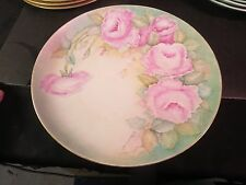 """Alka Kunst Bavaria 12"""" Hand Painted Charger/Plate Roses Signed A.Pearson 1967"""