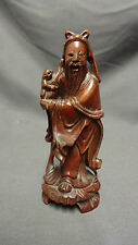"Antique 5"" Chinese Root Wood Carving Of A Man Holding A Monkey"