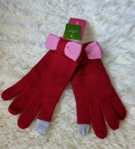 Kate Spade Tech-Friendly Colorblock Gloves Charm Red w/ Pink Bow NWT