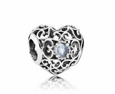 AUTHENTIC PANDORA Sliver Charm SIGNATURE HEART Openwork Birthstone March 791784