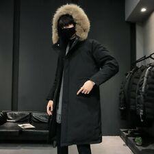 Winter Mens Mid Length Puffer Coat Duck Down Hooded Fur Collar Overcoat Warm New