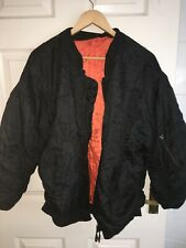 VINTAGE/RETRO MENS XL BLACK/ORANGE ZIP FASTEN BOMBER JACKET (VG COND)