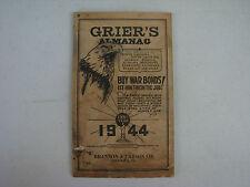 Grier's Almanac, 1944 for deep South states        (LOC =lkr 6, doc box)