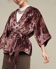 Plenty by Tracy Reese Burgundy Floral Burnout Velvet Kimono Sleeve Jacket L