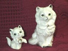 "Vintage White Long Hair Mother Cat & Kitten Cat figurines Kenmar Japan 4"" & 2"""