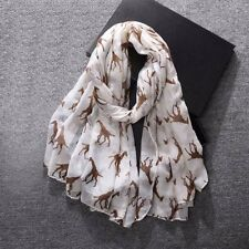 GIRAFFE SCARF GIFTS Ladies Womens Gift Soft Animal Print Wrap Off-white + Beige
