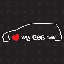 Amo mio Peugeot 206 SW Tuning Adesivo anno fab. 02-03,Auto Ventilatore adesivo,