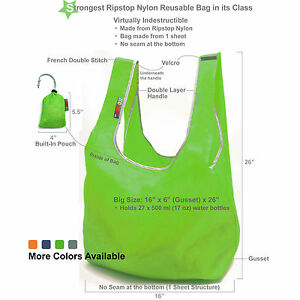Super Strong EcoJeannie RIPSTOP NYLON Reusable Bag Tote Grocery Bag w/ pouch