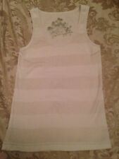 STUNNING - LADIES STRAPPY PINEAPPLE TOP - STRIPED - SIZE:  12 - WHITE STRIPED