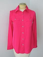 NWT F21 Essentials Hot Pink Silky Woven Poly Rayon LS Blouse Top Pockets S