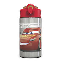 Zak Disney Cars 3 Stainless Steel Kids' Water Bottle, Action Spout Cover, 15.5oz