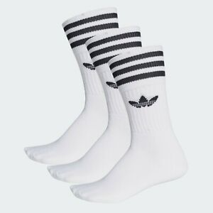 Adidas Originals Men's Solid Crew Sock 3 Pairs White/Black S21489 f
