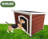 Heritage Wooden Dog Kennel House Shelter Kennels Pet Complete with Curtain Door