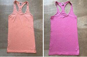 Victorias Secret Pink Lot Of Two Racerback Tank Tops Pink And Orange Size XS