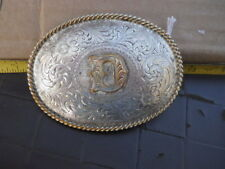 Vintage Montana Silver Plate Western Belt Buckle Letter D Dave Dale Dawn Dixie