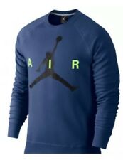 NWT Mens NIKE AIR JORDAN Navy Blue Logo Crewneck Sweatshirt 689014  M-L-XL-2XL