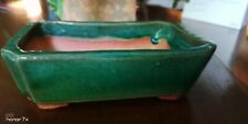 Bonsai Pot Emerald Green Vintage Glaze Handcrafted 6x4x1.5 in.+drain+screen+feet