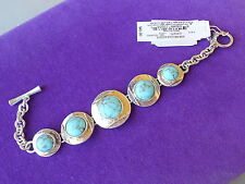 Lucky Brand Authentic NWT Silver-Tone Framed Stone Link Toggle Bracelet