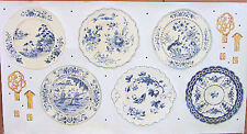 Waverly Porcelain Menagerie Blue Plates Die-Cut Peel&Stick Stickers Set  5510080