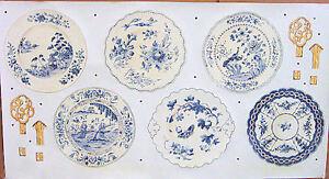Waverly Porcelain Menagerie Blue Plates Die-Cut Peel&Stick Stickers Set  5510080