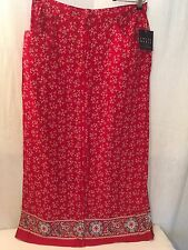 Crazy Horse Skirt Sz 14  Long Maxi Red Print Rayon New 161116