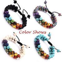 7 Chakra Heilkristalle Armband, natürliche Edelstein Yoga Stein Perlen Armbänder