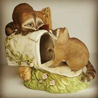 HOME INTERIORS Masterpiece Porcelain Figurine HOMCO 1987 RACCOONS mailbox