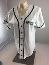 University of Wisconsin Green Bay Baseball Style button Shirt Gry Grn Jersey S
