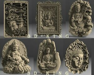 6 Pcs STL 3D Models THE BUDDHA for CNC Router 3D Printer Engraver Carving Aspire