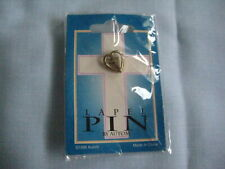 1998 Religious lapel pin by Autom New sealed small crucifix in heart estate coll