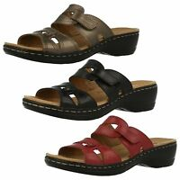 Ladies Clarks Hayla Canyon Red, Pewter Or Black Leather Wedge Mule Sandals