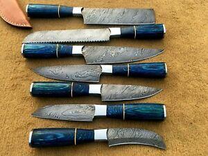 custom handmade damascus steel chef knives set lot of 7 (MOHIB JAN)