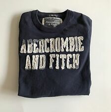 Abercrombie & Fitch Men's Navy Blue Long Sleeve Crew Neck Graphic Muscle T-shirt