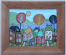 Shore Cottages 8 x 10 FRAMED ORIG CANVAS Panel PAINTING FOLK ART Karla Gerard