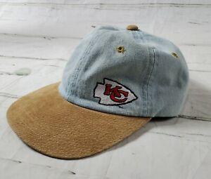 Vintage Kansas City KC Chiefs NFL Light Denim w Leather Bill Baseball Hat Cap