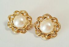 GIVENCHY signed Runway Gold Tone Braided Border Pearl Cabochon Dome Earrings