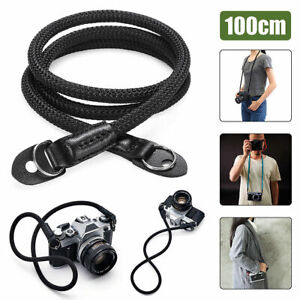 HandMade Braided Camera Single Shoulder Neck Strap Rope + Leather For Leica Sony