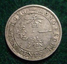 NICE GRADE 1903 SILVER 10 CENTS BRITISH HONG KONG**NICE DETAILS**