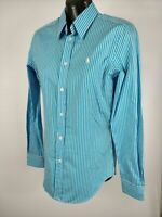 WOMENS RALPH LAUREN BLUE STRIPED SLIM FIT LONG SLEEVE SHIRT TOP US 4 UK 8