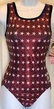 Carly Patterson Gk Red Star Foil Adult Large Velvet Tank Gymnastic Leotard Al