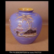 Antique Hand Painted Japan Moriage Vase w/Palm Trees, Birds, Islands, Temple