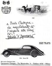 AUTOMOBILE ITALIAN MAG AD 1934 CARROZZERIA CASTAGNA MILAN